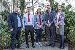 Greenmount Campus Farm Business student award winners with First Trust Bank Judge Eoin Donnelly, (Agriculture Business Manager), Christopher Ruddock (Donaghcloney) runner-up, Andrea Rooney (Tassagh) winner, third placed Jamie Adair (Banbridge) and Dr Kate Semple, Course Manager.