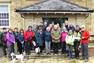 Ramblers celebrating the eight anniversary of the South Downs National Park on March 31, 2018