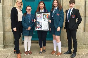 Pictured at the unveiling of the final piece of artwork are Olga Casey, Banbridge Academy's Head of Art and Design; Anna Doyle; Victoria Poole, EA Communications and Engagement Officer; Katie Wright; and Conor Doyle.