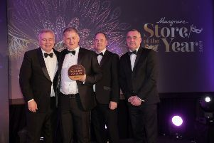 Pictured are Eamonn Holmes, Jim Brennan, Centra Banbridge, Tim Gault, commercial manager, Denny and Trevor McGill, wholesale director, Musgrave NI, at the annual Musgrave Store of the Year Awards at the Culloden Estate & Spa, where Centra Banbridge clinched the award for Centra Company Owned Store of the Year