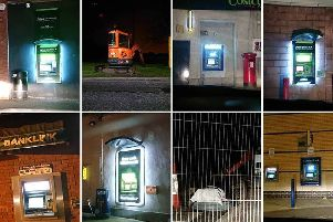 A police montage of ATMs they visited during an overnight patrol.