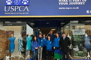 USPCA staff pictured at the opening of the Newry Street, Banbridge charity shop. Included are  Sinead Griksas,  Veterinary Nurse, Sarah Loughran, Marketing Officer, Colleen Tinnelly, Development Manager, Kym Moffett, Nursing Axillary, Simon Gibson Van Driver,  Rachel McGreevy, Store Manager and Tony Fearon, Accounts Administrator
