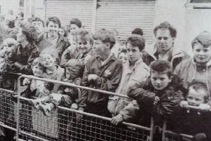 A section of the crowd who waited for the appearance of Glasgow Rangers' Ally McCoist at the Village Sports Shop in Carrickfergus. 1991
