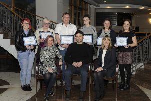 "Presentation of certificates on completion of ""Community without Hate"" seated from left; PCSP Development Officer Lynette Cooke, Course Facilitator Maciek Bator and Good Relations Support Officer Edel Skelton, back: Charmain Jones, Frances Kerr, Stephen Jones, Kasia Jablonowska, Aleksandra Proc-Jablonowska and Alison Lappin."
