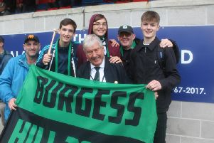 John Buck with younger supporters