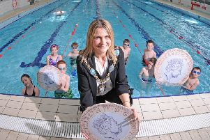 Lord Mayor, Councillor Mealla Campbell Shakes up Summer at the Orchard Leisure Centre with pupils from Armstrong Primary School at the launch of the �1 Junior Swim which runs across the borough throughout the summer