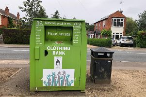 This bin has now been positioned in front of the Co-op in Duston and is allegedly fake.