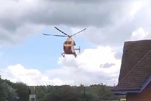The helicopter transported the boy to hospital