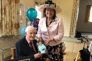Tom Mower with Lord Lieutenant of Bedfordshire, Helen Nellis