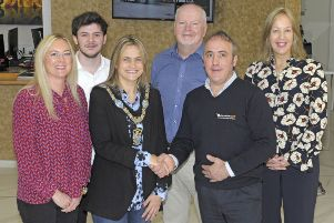 Lord Mayor, Cllr Mealla Campbell is welcomed to Alternative Heat, Banbridge by Managing Director Connel McMullan, included is Marketing Administrator Philip Ervine, HSEQ Manager Brian Hazzard., Head of Economic Development Nicola Wilson and Economic Development Officer Cathy Harris