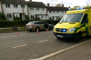 The scene of the crash in Worth Road, Crawley, photo contributed by Patricia Keane