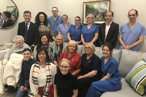 Belinda and son Leo alongside Claudia and their great-aunt Vera McGahon were delighted to show the staff of Craigavon Area Hospital's Intensive Care Unit (ICU) the new look Family Consultation Room