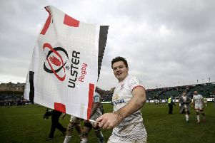 Ulster's Jacob Stockdale celebrates after Saturday's Heineken Champions Cup game at The Rec.  (Photo: INPHO/Laszlo Geczo)