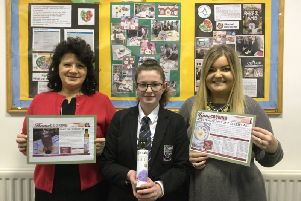 GCSE Home Economics student, Grace Magill is pictured with Ms D McSorley, Head of HE and Mrs D Reilly, HE Department