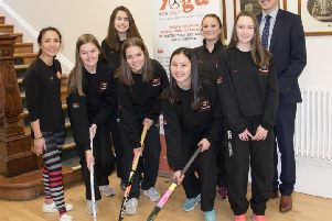 Banbridge Academy Senior Girls' Hockey Captains pictured with one of their kit sponsors, Sayon Cheung McMullan (Yoga with Sayon).  The school and the girls are extremely grateful for the kind sponsorship and support. Pictured  Sayon Cheung Mulligan, Rachel Hanna, Kayla Orr, Ellen Reid, Ruby Mulligan, Mrs Gemma Todd (Team Manager), Jennifer Hanna and Mr Robin McLoughlin (Principal)