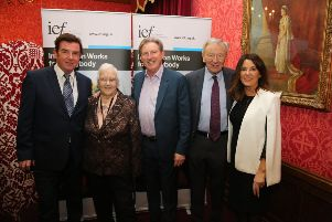 Pictured are Mr Tony Carson, Mr Adrian Dunbar, Baroness May Blood, Lord Dubs and Mrs Anne Anderson, Principal