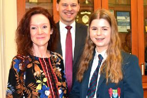 Miss L Elliott (Head of Home Economics), Mr R S McLoughlin (Principal), Olivia Miskimmons