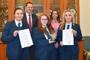 Winning A Level teamL Emma Harrison, Lauren Graham and Alice Gordon with Mr R S McLoughlin (Principal) and Mrs L Duke (Psychology Teacher)