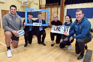 Pictured are Dromore High School pupils Johnie Thompson, Jack Allen alongside Gillian Orr, Phoenix Natural Gas and Stephanie Gleadhill, Lead'Nutritionist, Ulster Rugby