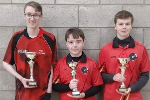 Pictured with their Gold awards are Niall, Shea and Nahum