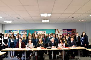 Mrs A Gilpin (Head of Careers standing), Mr T Dempsey (Head of Economics &; Business Studies), Miss L Elliott (Head of Home Economics), Miss K Jess (Home Economics Teacher), Mr Seamus Ryan (RGA Accountants), Miss J Cosgrove (Economics & Business Studies Teacher), Mr R S McLoughlin (Principal) and Mrs C Morrison (Young Enterprise)