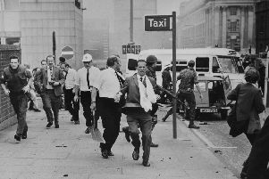 Panic at Oxford Street bus station on Bloody Friday, July 21, 1972.   Twenty IRA bombs across Belfast killed nine people in 75 minutes and left some 130 mutilated. Photo: Stanley Matchett.