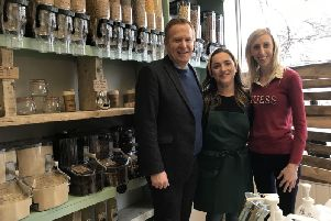 Cllr Paul Greenfield and Carla Lockhart MP pictured with Tanya McAnerney at the store