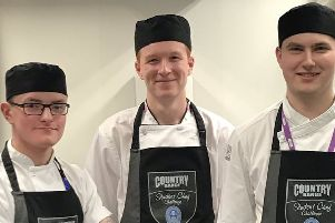 SERC students, Adam Jones, Matthew McGivern and Adam Proctor who have secured their place in the semi-final heats following recent competiton in Jersey