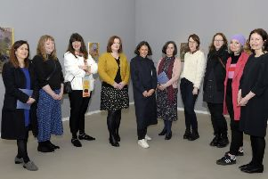 """Opening of """"Penumbra"""" Exhibition at FE McWilliam Gallery 15th February 2020, featuring the work of eight artists: Sin�ad Aldridge, Hannah Casey-Brogan, Susan Connolly, Sarah Dwyer, Fiona Finnegan, Alison Pilkington, Yasmine Robinson, Louise Wallace, and co-curated by Dr Riann Coulter of the F.E. McWilliam Gallery and Dr Louise Wallace of Ulster University, Penumbra brings together artists who are connected by their gender, their associations with the island of Ireland and their commitment to testing the limits of painting. �Edward Byrne Photography"""