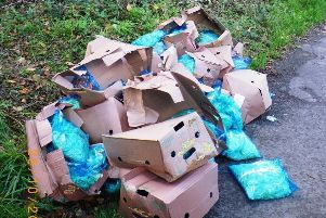 The cardboard boxes that Hawkins was found to have dumped by the roadside