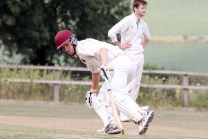 Horley batsman Louis Yates runs them up against Cublington
