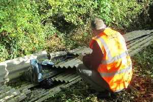 Sixteen sheet of asbestos were dumped in woodland, in Nethercote, in Banbury. NNL-181010-103100001