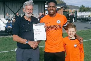 Tendai Daire had a good afternoon on Saturday. The Lutterworth Town striker recieved his award for being Septembers top goalscorer from UCL chairman John Weeks and then notched another goal  his 150th for the club  as Swifts beat Anstey Nomads 2-0