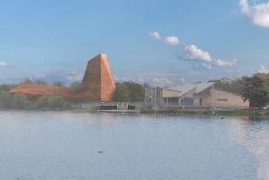 This image shows how the proposed Olympic climbing walls centre at Ferry Meadows could appear