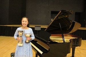 Banbury Young Junior Musician of the Year 2018  Amelie Chen with trophies