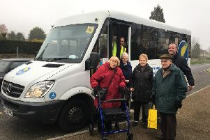 Shopping bus passengers with Aynho Parish Council clerk Chris Wilson and the bus driver in Aynho