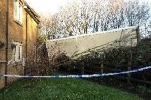 A lorry crashed into a garden while travelling on Hennef Way. Photo: Oxfordshire Fire and Rescue Service