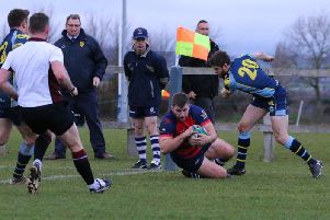 Jack Briggs scores a try for Banbury Bulls at Trowbridge. Photo: Simon Grieve