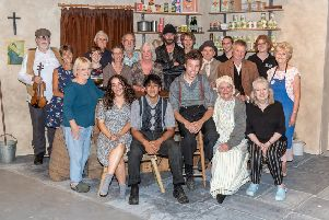 The cast and crew of The Cripple of Inishmaan from July this year. Photo: Jim Muller Photography