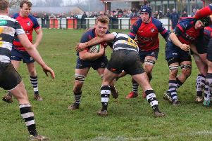 Ed Berridge on his way to scoring for Banbury Bulls at Chippenham. Photo: Simon Grieve