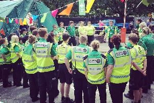 St John Ambulance volunteers are briefed at an event. Photo: St John Ambulance
