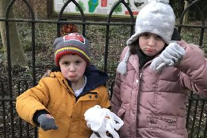 Bella Camilleri, seven, and her brother Leo, four, with the bagfuls of rubbish they collected at Adderbury Lakes. Photo: Tanya Camilleri NNL-190115-123153001