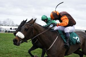 Impulsive Star (Sam Waley-Cohen) gets the better of Calett Mad (James Bowen) at Warwick. Photo: Alan Crowhurst/Getty Images