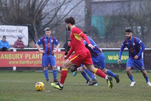 Giorgio Rasulo gives Banbury United the lead from the penalty spot against Coalville Town. Photo: Steve Prouse