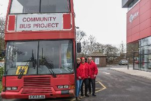 Three of the Play Bus team outside Norbar where they held a 'thank you' event for donor. Photo by Steve Gold