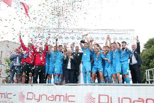 B Italia celebrate won the Premier Section final at SuperCupNI in 2018 after defeating Co Down.