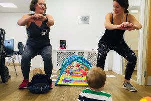 Victoria Larder trains a mum during a OneFitMama session NNL-190128-152855001
