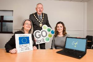 Eve Beattie, a Mid Ulster mum-of-four finding the perfect balance between family life and a successful career by launching her very own virtual assistant business with the support of the Go For It Programme, in association with Mid Ulster District Council.''Pictured with Eve (right) is Councillor Sean McPeake, Chair of Mid Ulster District Council (centre) and Patricia Elliott, Business Advisor with Workspace (left) who provided EVE with expert advice and help with developing a business plan in order to help turn her business idea into a reality.