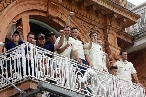 Happier times: Great & Little Tew players on the balcony at Lord's for the Davidstow Village Cup Final in 2014
