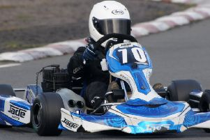Banbury driver Tom Carne on his way to 22nd place in Sunday's Junior TKM final. Photo: Graham Smith